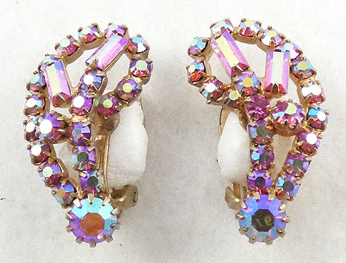 Earrings - Pink Aurora Rhinestone Earrings