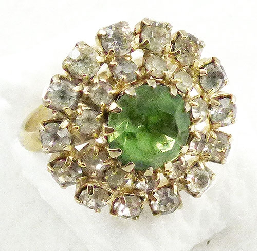 Rings - Light Green Rhinestone Costume Ring