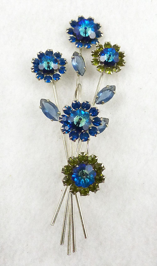 Brooches - Blue Margarita Floral Brooch