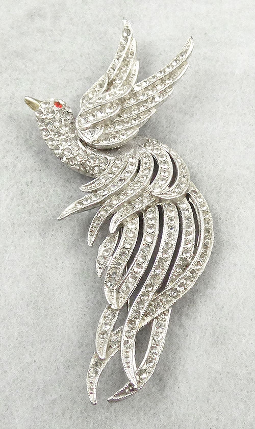 Brooches - Rhinestone Bird of Paradise Brooch