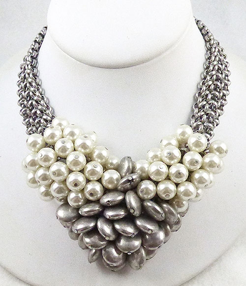 Misc. Signed S-Z - VCLM White and Tahitian Pearl Cluster Necklace