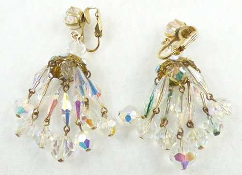 Crystal bead chandelier earrings garden party collection vintage description vintage crystal aurora bead chandelier clip earrings the chandelier consists of six strands of oblong faceted crystal beads with dangling aloadofball Image collections
