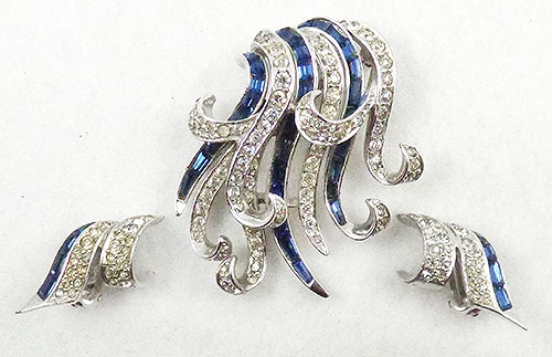 Newly Added Boucher Rhinestone Curling Ribbons Brooch Set