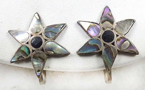 Mexico - Mexican Sterling Abalone Star Earrings
