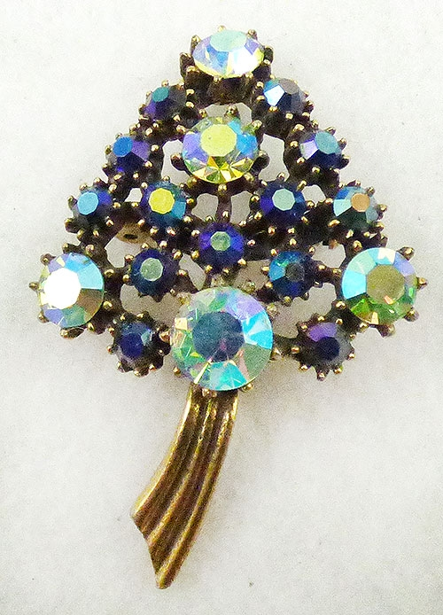 Newly Added Blue Aurora Rhinestone Christmas Tree Brooch