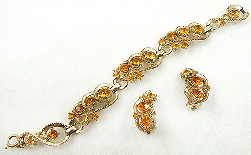 Newly Added Golden Topaz Rhinestone Bracelet Set