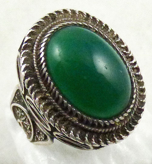 Newly Added Silver Filigree Chrysoprase Cabochon Ring