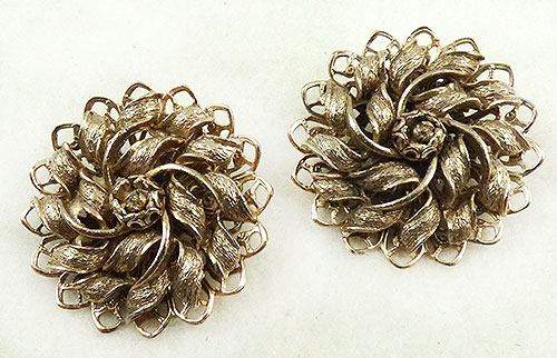 Newly Added Gold Leaves Pinwheel Earrings