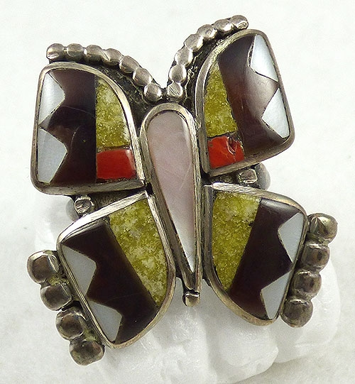Figural Jewelry - Butterflies & Bugs - Zuni Inlaid Stone Butterfly Ring