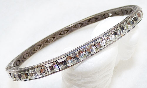 Bracelets - Art Deco Sterling Rhinestone Bangle Bracelet