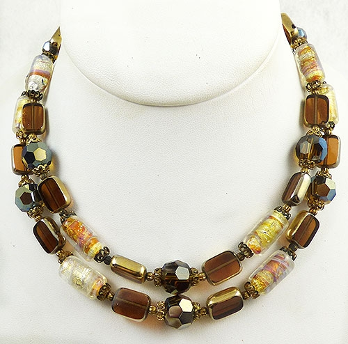 Autumn Fall Colors Jewelry - Brown Art Glass Bead Double Necklace