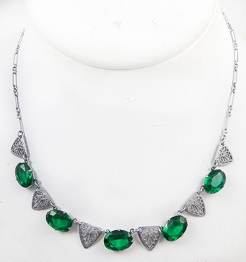 Newly Added Art Deco Filigree and Green Rhinestone Necklace
