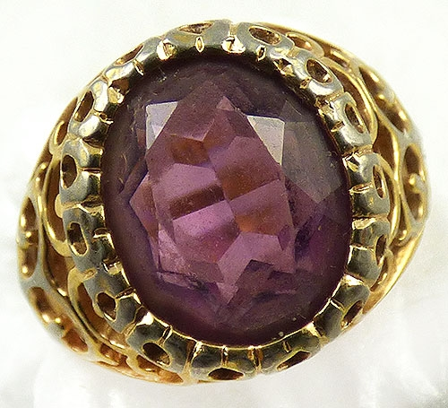 Misc. Signed A-F - Signed Faceted Amethyst Glass HGE Filigree Ring