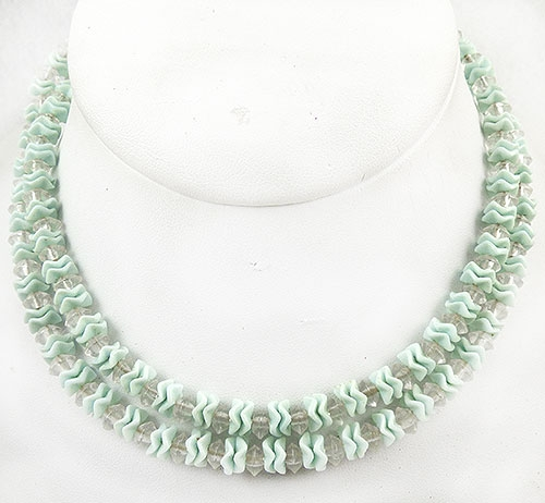 Japan - Japan Mint Glass Ruffle Bead Necklace