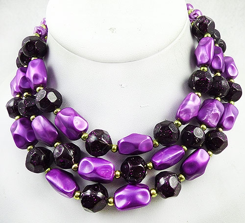 Confetti Plastic Jewelry - Purple Confetti Beads Triple Necklace