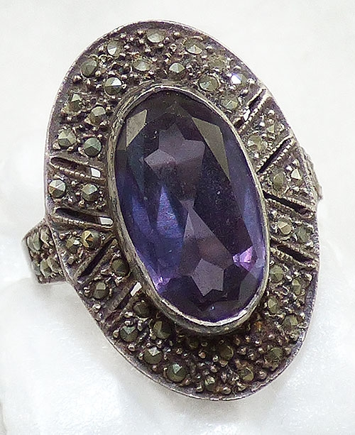 Marcasite Jewelry - Art Deco Sterling Amethyst Marcasite Ring