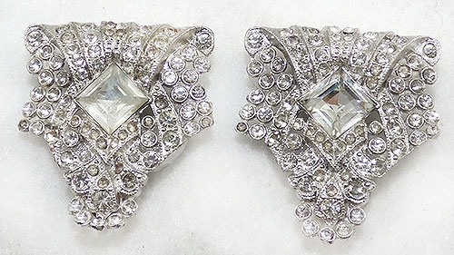 Newly Added Art Deco Rhinestone Dress Clips Pair