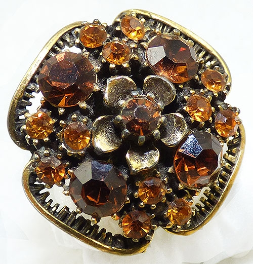 Newly Added Florenz Amber Topaz Rhinestone Ring