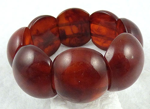 Autumn Fall Colors Jewelry - Root Beer Bakelite Stretch Bracelet