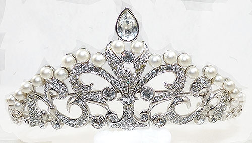 Bridal, Wedding, Special Occasion - Swarovski Crystal and Pearl Tiara