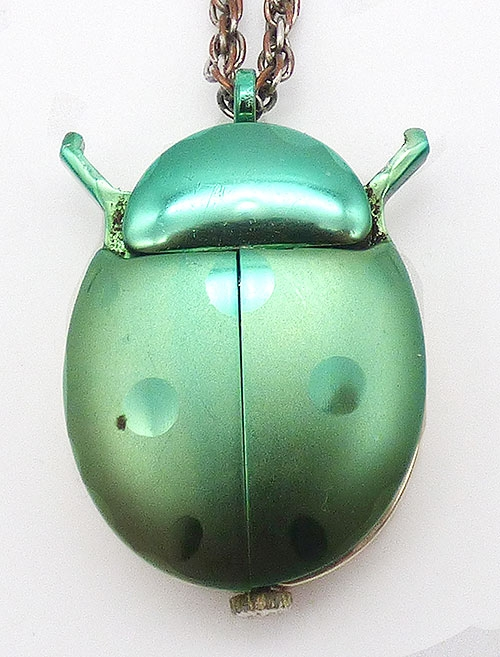 Figural Jewelry - Butterflies & Bugs - Jetson Green Cicada Ladybug Watch Pendant