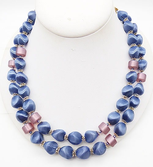 Newly Added Japan Periwinkle Blue Satin Bead Necklace