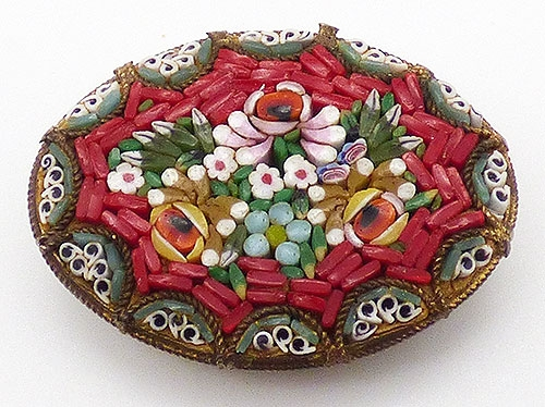 Brooches - Red Mosaic Floral Brooch