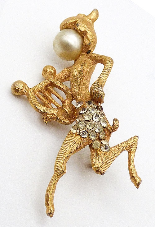 Brooches - BSK Gold Tone Satyr Brooch