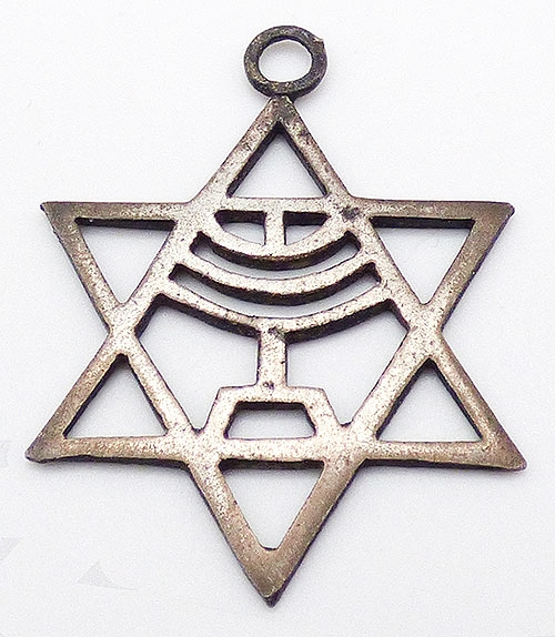 Sterling Silver - Sterling Star of David Menorah Pendant