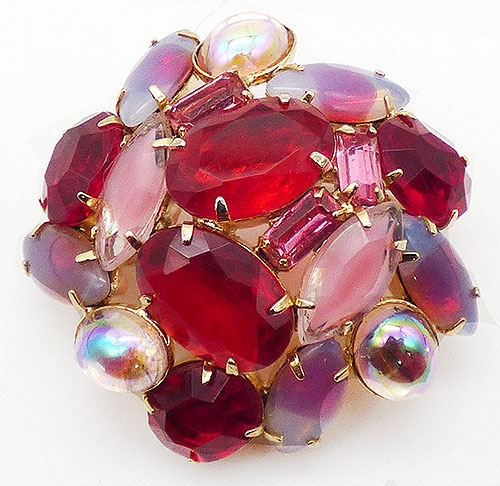 Newly Added Domed Red and Pink Glass Brooch