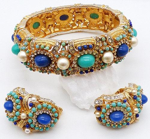 Newly Added Jeweled Mogul Style Hinged Bracelet Set