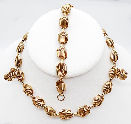 Newly Added Coro Gold Tone Spiral Knot Parure