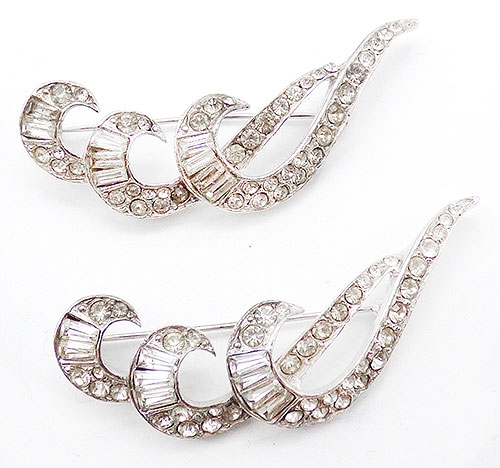 Brooches - Rhinestone Feather Scatter Pins