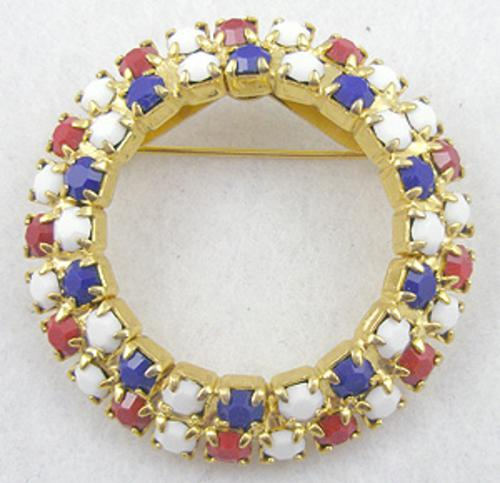 Newly Added Patriotic Rhinestone Circle Brooch