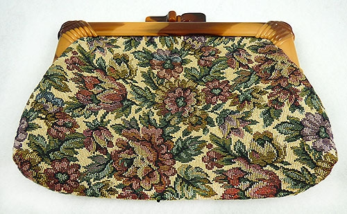 Purses - Tapestry Clutch Purse with Lucite Handle