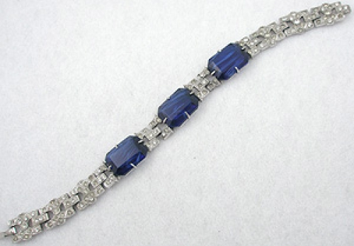 Newly Added Coro Art Deco Blue Glass Rhinestone Bracelet