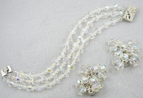 Bridal, Wedding, Special Occasion - Crystal Beads Bracelet & Earrings Set