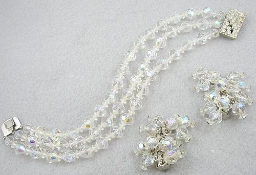 Crystal Bead Jewelry - Crystal Beads Bracelet & Earrings Set