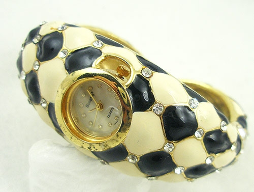 Watches & Accessories - Bonetto Black & Cream Enamel Ladies Bracelet Watch