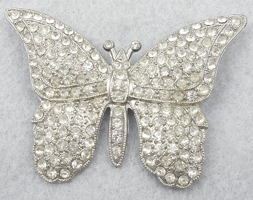 Brooches - 1930's Rhinestone Butterfly Brooch
