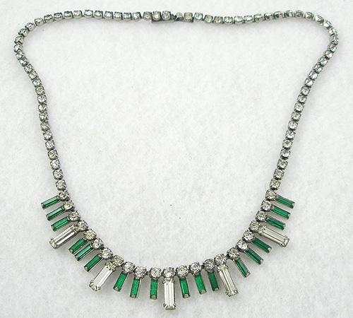 Necklaces - Rhinestone Baguette Fringe Necklace