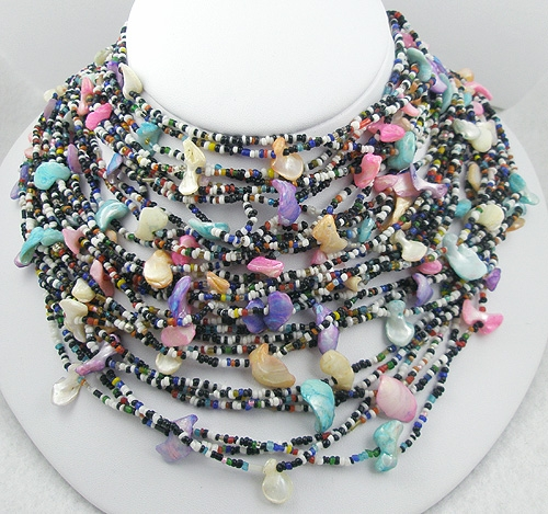 Necklaces - Black & White Beads Dyed Shell Torsade Necklace