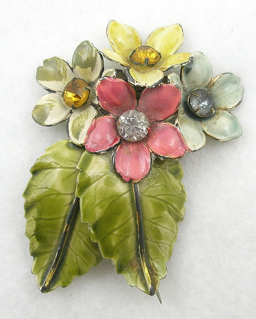 Florals - Sandor Enameled Flowers Brooch