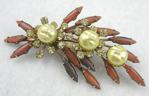 Cathé - Cathé Yellow Pearl & Thin Navette Brooch