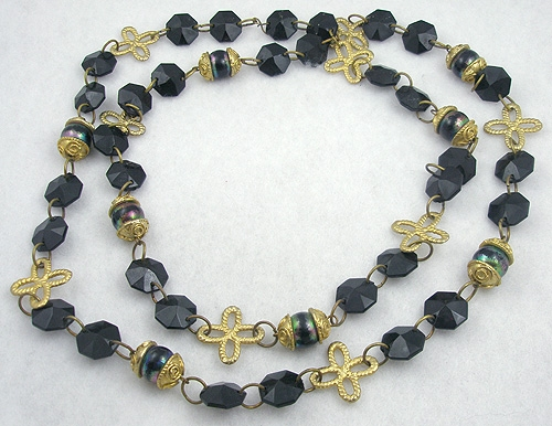 Necklaces - Black Bead & Gold Bow Necklace