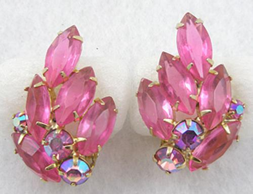 Earrings - Pink Rhinestone Navette Earrings