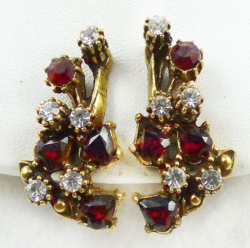 Earrings - Garnet Rhinestone Earrings