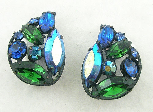 Regency - Regency Blue and Green Rhinestone Earrings