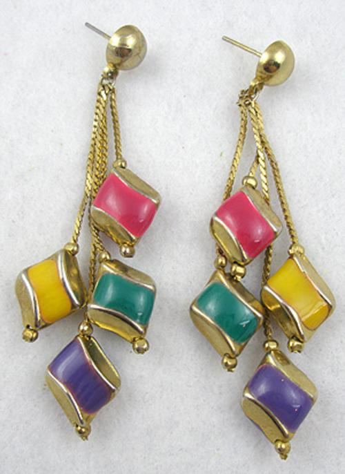 Earrings - Dangling Rainbow Enamel Pierced Earrings