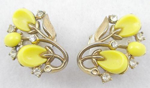 Earrings - Trifari Yellow Earrings